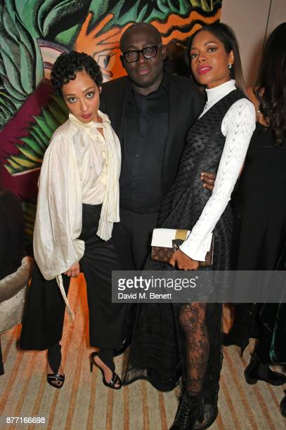 Ruth Negga Edward Enninful and Naomie Harris attend Louis Vuittons Celebration of GingerNutz in Vogue's December Issue on November 21 2017 in London...