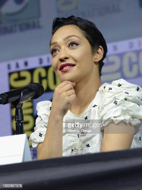 """Ruth Negga speaks onstage at AMC's """"Preacher"""" panel during Comic-Con International 2018 at San Diego Convention Center on July 20, 2018 in San Diego,..."""