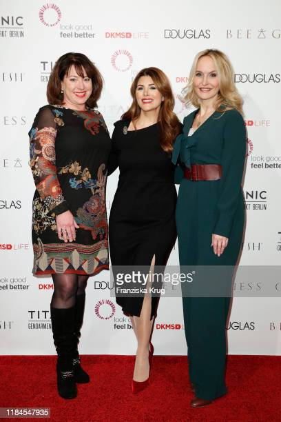 Ruth Neri, Sedef Ayguen and Anne Meyer-Minnemann during the Titanic Hotel and DKMS Life Christmas Charity Ladies Lunch on November 25, 2019 in...