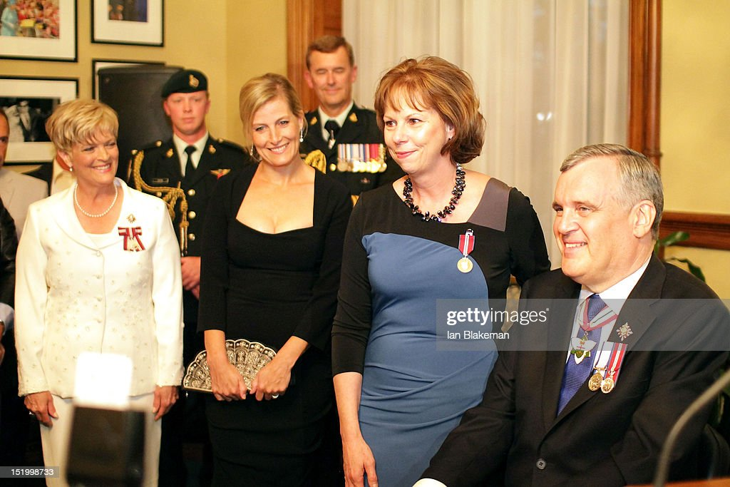 Ruth Onley, Sophie, Countess of Wessex, TIFF Director/COO Michele Maheux and Lieutenant Governor of Ontario David Onley attend the presentation of the Queen's Diamond Jubilee Medals during the 2012 Toronto International Film Festival at Queen's Park on September 14, 2012 in Toronto, Canada.