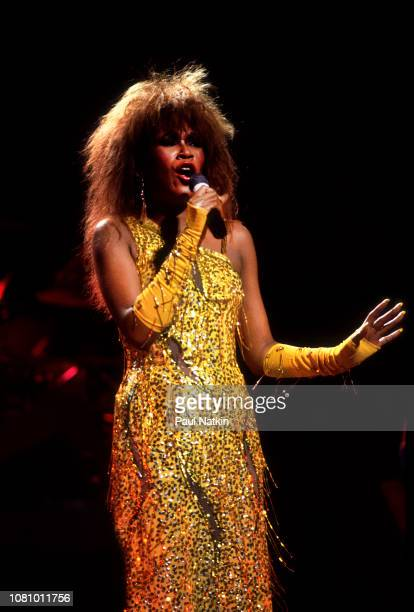Ruth Pointer of the Pointer Sisters performs on stage at the Poplar Creek Music Theater in Hoffman Estates Illinois August 4 1986