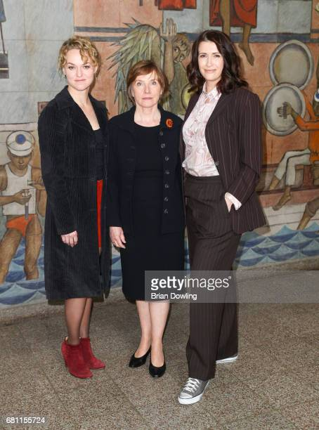 Ruth Reinecke Lisa Wagner and Claudia Mehnert at the photo call for the new season of the television show 'Weissensee' on May 9 2017 in Berlin Germany
