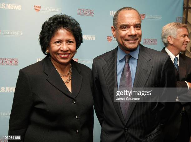 Ruth Simmons President of Brown University with Kenneth I Chenault newly elected President of American Express poses for a photo at the USNews World...