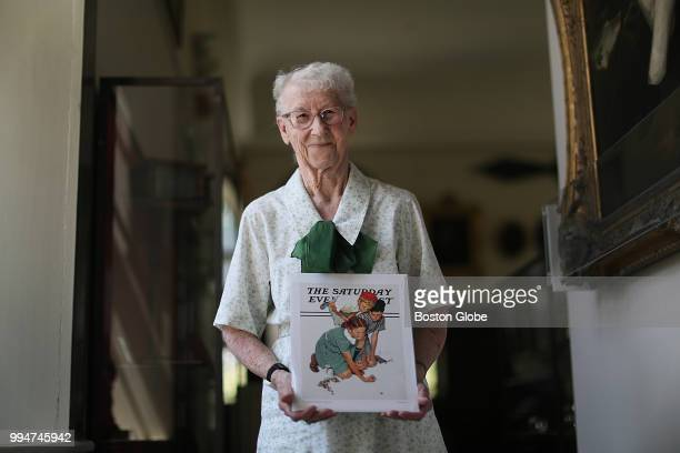 Ruth Skellie holds a magazine cover she modeled for painted by Norman Rockwell at the Bennington Museum in Bennington VT on July 3 2018 She modeled...