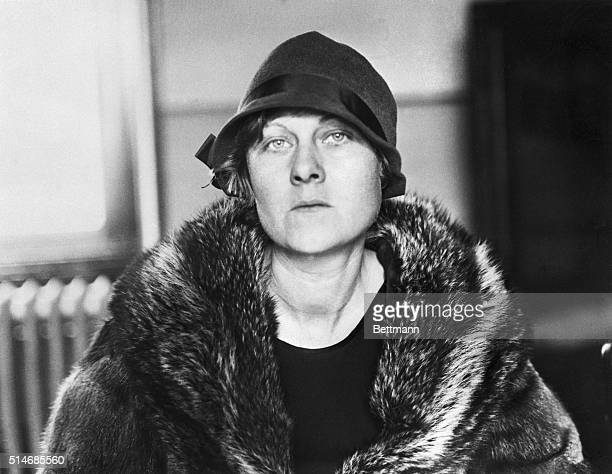 Ruth Snyder a suburban housewife who murdered her husband on Long Island wears a fur coat