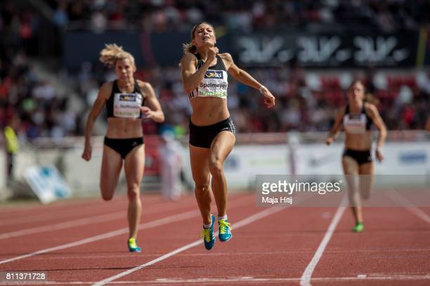 Ruth Sophia Spelmeyer crosses the finish line during women's 400 Meter Final during day 2 of the German Championships in Athletics at...
