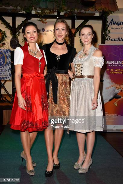 Ruth Sophia Spelmeyer Laura Mueller and Alexandra Burghardt attend the Angermeier Weisswurst Party on January 18 2018 in Berlin Germany