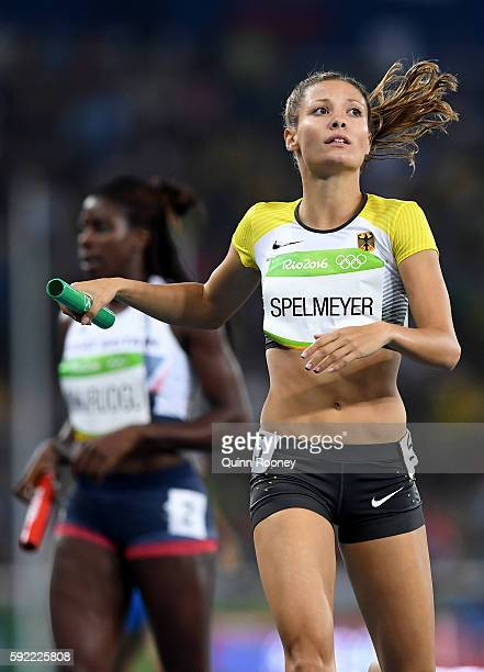 Ruth Sophia Spelmeyer of Germany competes in Round One of the Women's 4 x 400m Relay on Day 14 of the Rio 2016 Olympic Games at the Olympic Stadium...