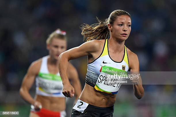 Ruth Sophia Spelmeyer of Germany competes in the Women's 400m Semi final on Day 9 of the Rio 2016 Olympic Games at the Olympic Stadium on August 14...