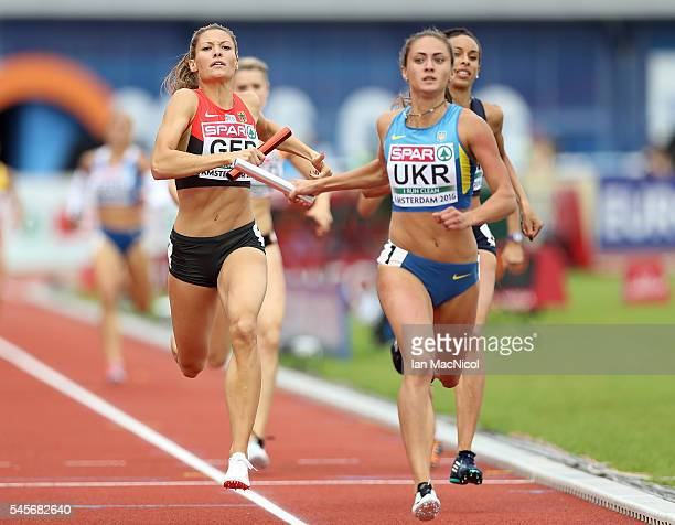 Ruth Sophia Spelmeyer of Germany in action during qualifying for the womens 4x400m relay on day four of The 23rd European Athletics Championships at...