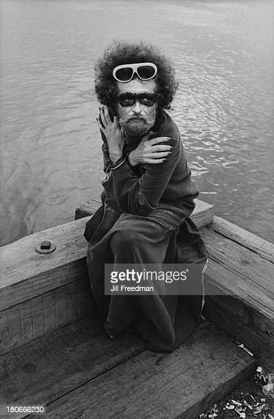 'Ruth Truth' sits by the Hudson River in the West Village New York City 1973