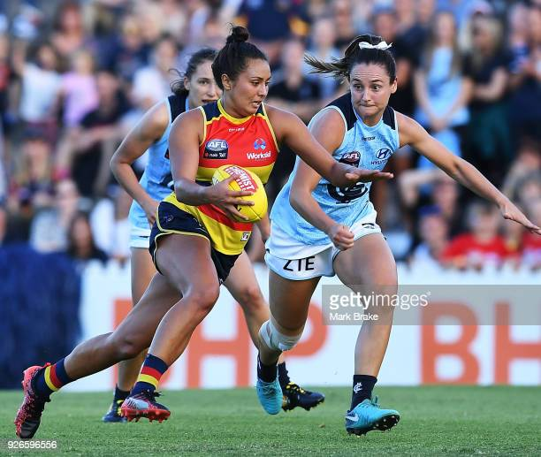 Ruth Wallace of the Adelaide Crows heads for goal during the round five AFLW match between the Adelaide Crows and the Carlton Blues at Norwood Oval...