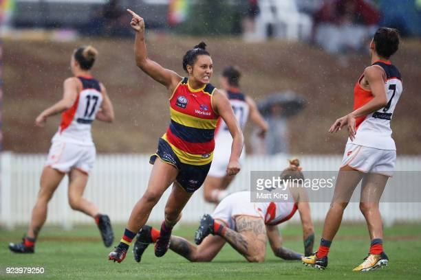 Ruth Wallace of the Crows celebrates a goal during the round four AFLW match between the Greater Western Sydney Giants and the Adelaide Crows at...