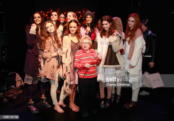 Ruth Westheimer poses with models at Kim Crawford Wines at Odd Molly Fall 2011 during MercedesBenz Fashion Week at Lincoln Center on February 16 2011...