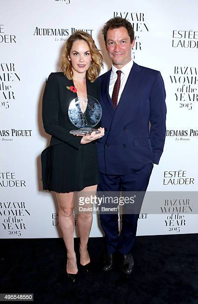 Ruth Wilson and Dominic West attend the Harper's Bazaar Women of the Year Awards 2015 at Claridges Hotel on November 3 2015 in London England