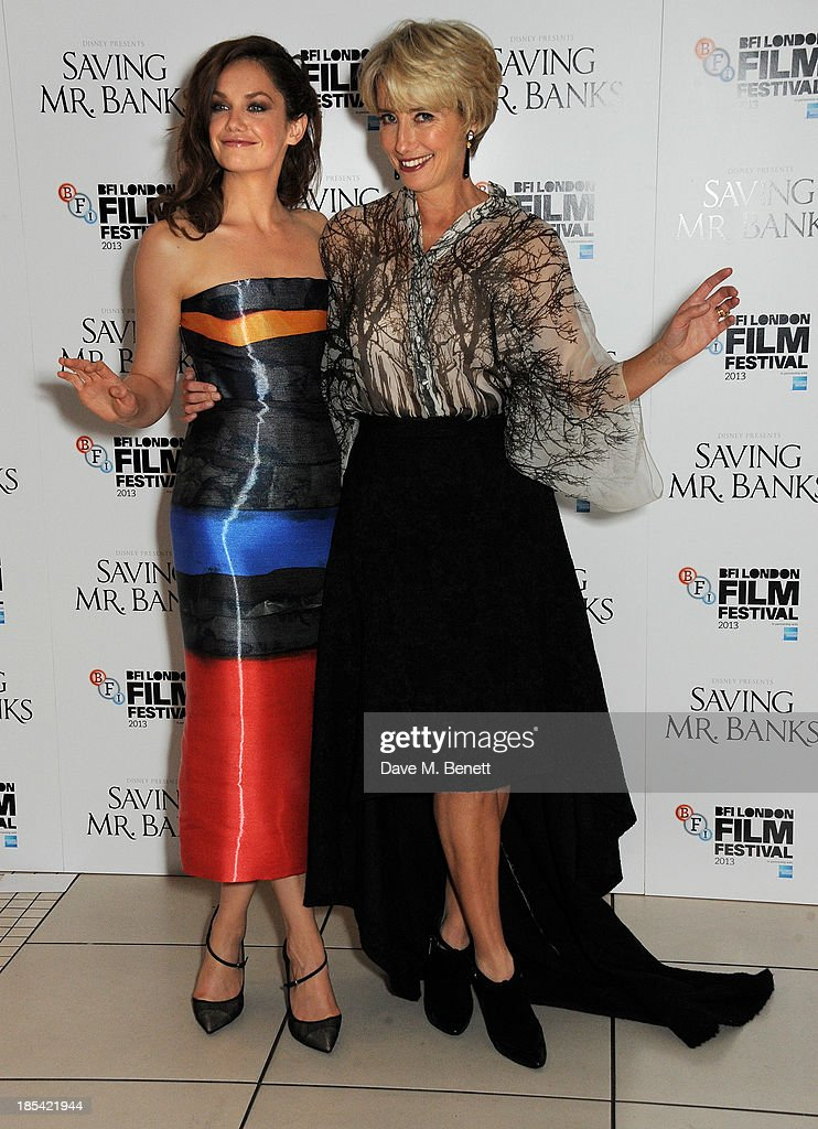 Ruth Wilson (L) and Emma Thompson attend the Closing Night Gala European Premiere of 'Saving Mr Banks' during the 57th BFI London Film Festival at Odeon Leicester Square on October 20, 2013 in London, England.