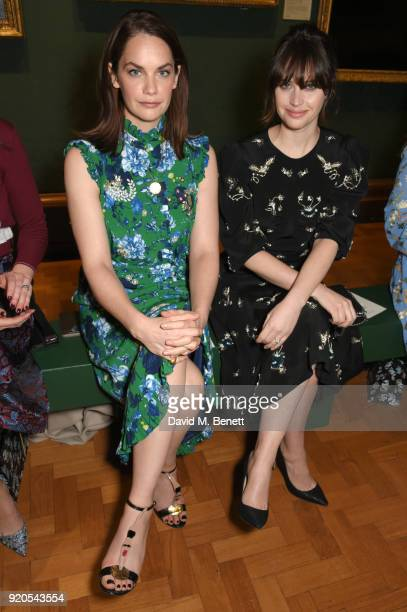Ruth Wilson and Felicity Jones attend the Erdem show during London Fashion Week February 2018 at National Portrait Gallery on February 19 2018 in...