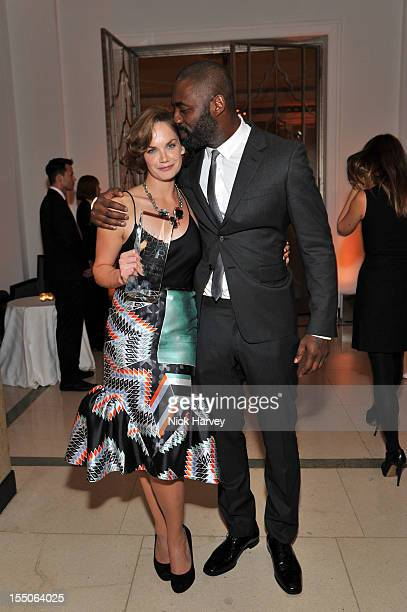 Ruth Wilson and Idris Elba attend the Harper's Bazaar Woman of the Year Awards at Claridge's Hotel on October 31 2012 in London England