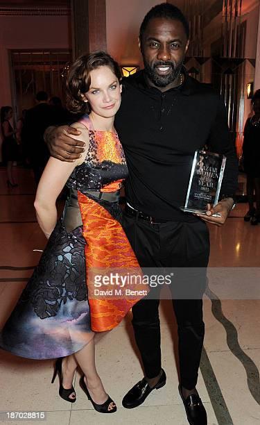 Ruth Wilson and Idris Elba, winner of the Man of the Year award, attend the Harper's Bazaar Women of the Year awards at Claridge's Hotel on November...