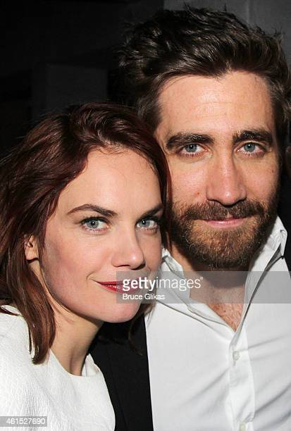 Ruth Wilson and Jake Gyllenhaal pose at the Constellations Broadway Opening Night After Party at Urbo NYC on January 13 2015 in New York City