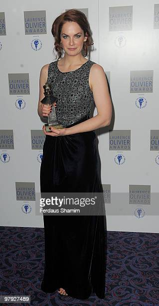 Ruth Wilson Poses with her Best Actress in a supporting role during The Laurence Olivier Awards at The Grosvenor House Hotel on March 21 2010 in...