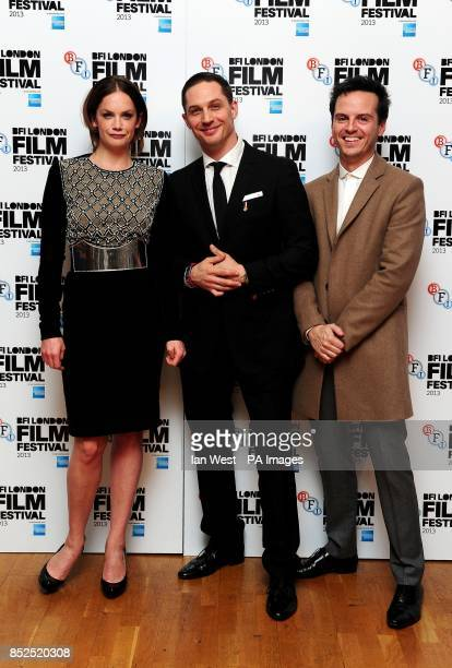 Ruth Wilson Tom Hardy and Andrew Scott arriving at the screening of new film Locke at the Odeon West End cinema London