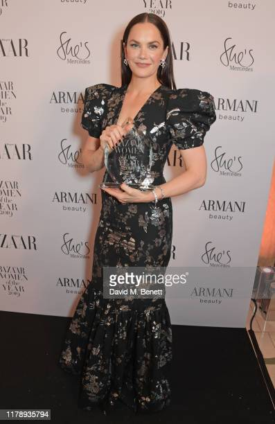 Ruth Wilson, winner of the TV Icon Award, attends the Harper's Bazaar Women of the Year Awards 2019, in partnership with Armani Beauty, at Claridge's...