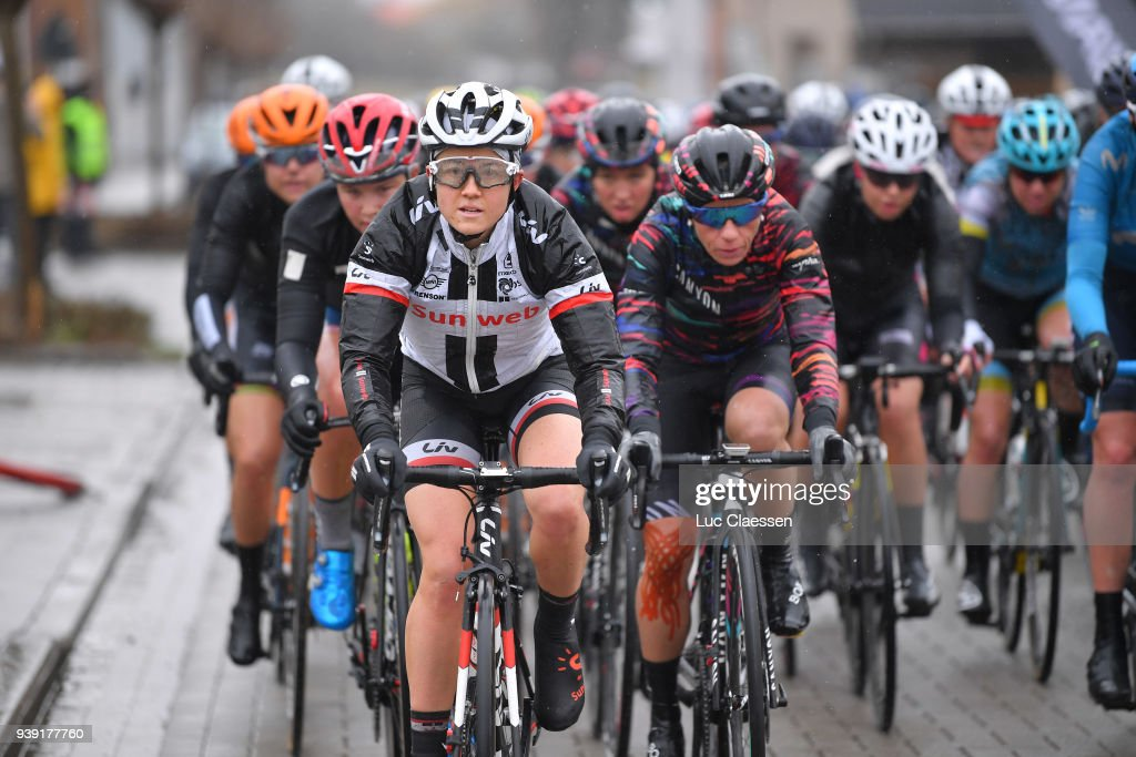 Ruth Winder of The United States and Team Sunweb / Trixi Worrack of Germany and Team Canyon SRAM Racing / Peloton / during the 7th Dwars door Vlaanderen 2018 a 117,7km women's race from Tielt to Waregem on March 28, 2018 in Waregem, Belgium.
