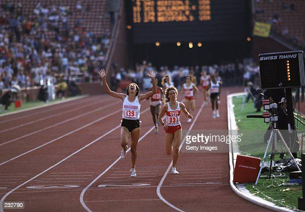 Ruth Wysocki beats Mary Decker to qualify for the 1984 Olympics during the US Olympic trials at the Memorial Coliseum in Los Angeles California