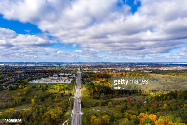 rutherford road and william granger greenway at boyd conservation park in fall, woodbridge, vaughan, canada - ontario canada stock pictures, royalty-free photos & images