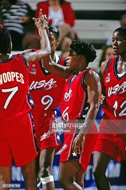 Ruthie Bolton of the USA Women's National Team celebrates an exhibition game against Ukraine on October 11, 1995 in Colorado Springs, Colorado. NOTE...