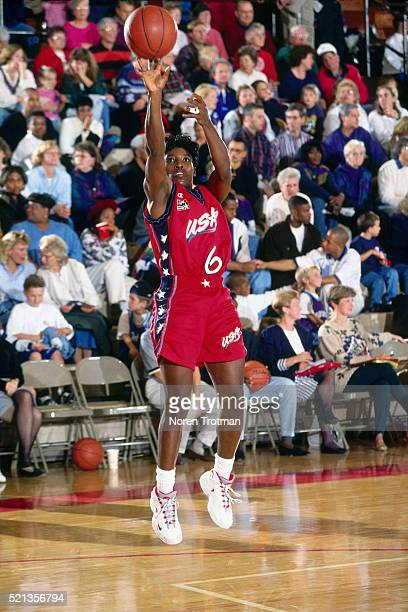 Ruthie Bolton of the USA Women's National Team drives during an exhibition game in 1996. NOTE TO USER: User expressly acknowledges and agrees that,...
