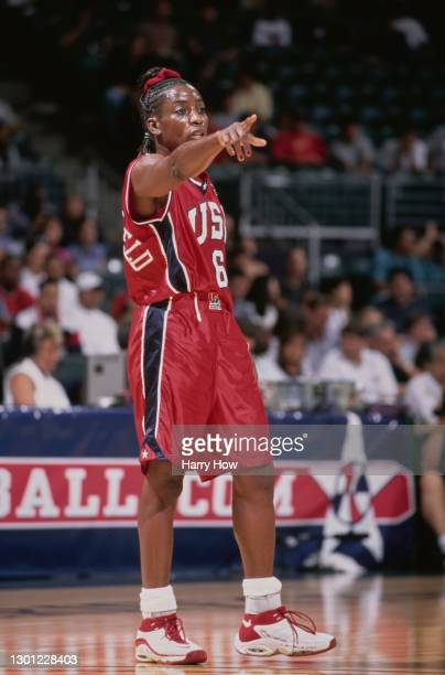 Ruthie Bolton, Point Guard for the United States women's basketball team during the Pre Olympic basketball game against Brazil on 2nd September 2000...