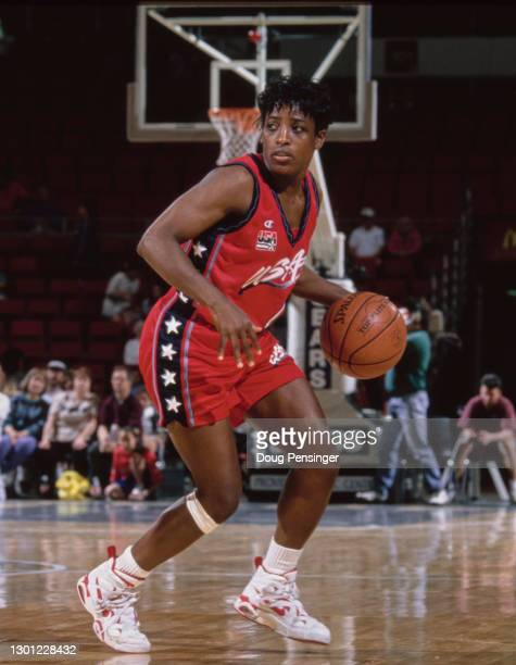 Ruthie Bolton, Point Guard for the United States women's basketball team during the Pre Olympic basketball game against Cuba on 26th May 1996 at the...