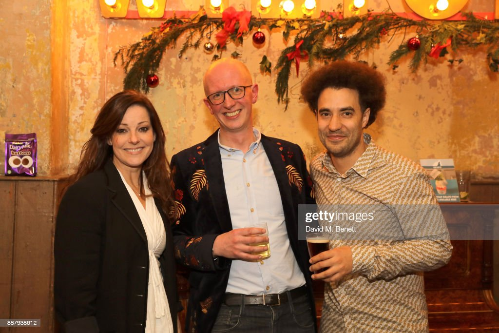 Ruthie Henshall, Piers Torday, and Justin Audibert attend a drinks reception during the press night performance of 'The Box Of Delights' at Wilton's Music Hall on December 7, 2017 in London, England.