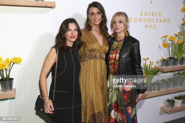 Ruthie Vexler Bridget Moynahan and Becca Parrish attend Edible Schoolyard NYC 2018 Spring Benefit at 180 Maiden Lane on April 16 2018 in New York City