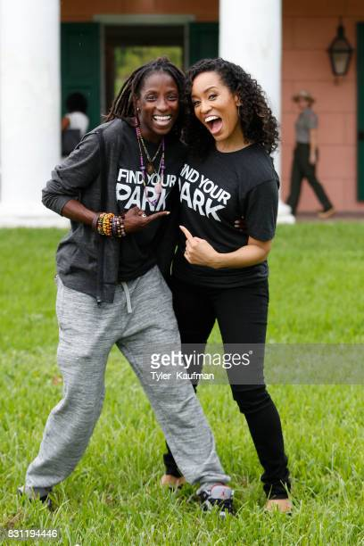 Rutina Wesley and DawnLyen Gardner attend the National Park Foundation's Parks 101 Experience at The MalusBeauregard House at the Chalmette...