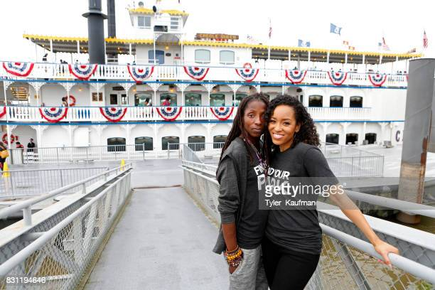 Rutina Wesley and DawnLyen Gardner pose in front of the Creole Queen while attending the National Park Foundation's Parks 101 Experience at The...