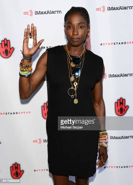 Rutina Wesley attends iMaxAlarm pledges to #StopStandSpeak against Street Harassment at the GBK Pilot Pen Pre Awards Celebrity Lounge 2017 Day 1 on...