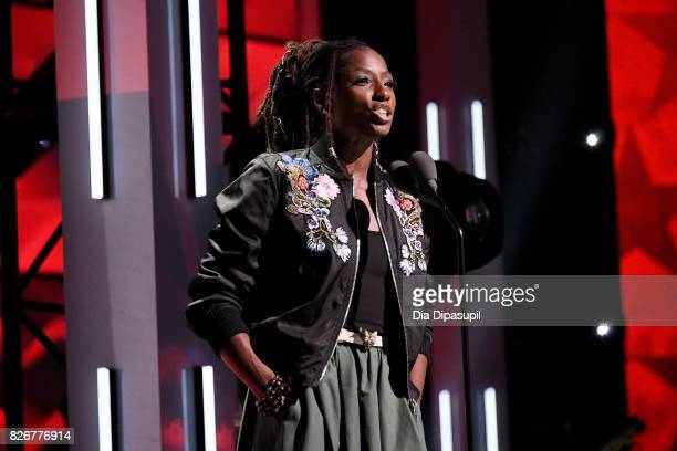 Rutina Wesley speak on stage during Black Girls Rock 2017 at NJPAC on August 5 2017 in Newark New Jersey