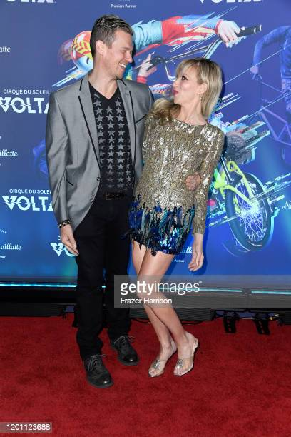 Rutledge Taylor and Deborah Gibson attend the LA Premiere Of Cirque Du Soleil's Volta at Dodger Stadium on January 21 2020 in Los Angeles California