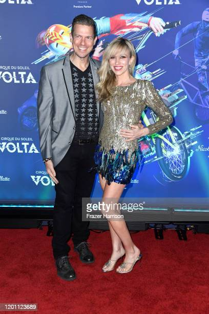 """Rutledge Taylor and Deborah Gibson attend the LA Premiere Of Cirque Du Soleil's """"Volta"""" at Dodger Stadium on January 21, 2020 in Los Angeles,..."""