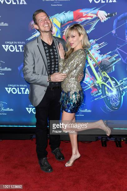 """Rutledge Taylor and Deborah Gibson attends the LA Premiere Of Cirque Du Soleil's """"Volta"""" at Dodger Stadium on January 21, 2020 in Los Angeles,..."""