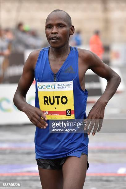 Ruto Dominic Kipngetich is seen after crossing the finish line during the 23rd Marathon of Rome, in Rome, Italy on April 02, 2017. The Rome Marathon...