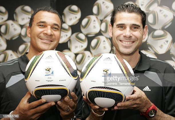 Ruud Gullit and Fernando Hierro during a media event discussing the SemiFinals of the FIFA 2010 World Cup held at the adidas Jo'bulani Centre in...