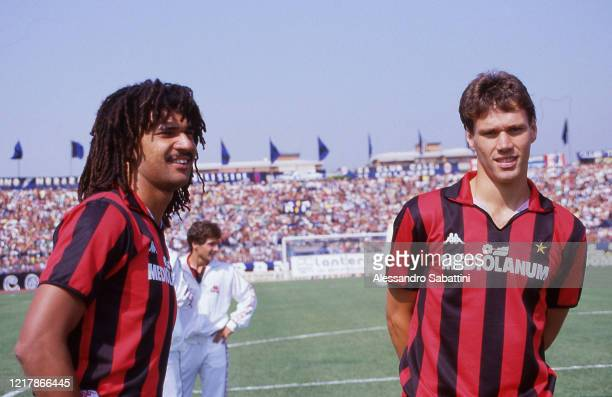 Ruud Gullit and Marco Van Basten of AC Milan look on before the Serie A match betwen Pisa and AC Milan, on Stadio Arena Garibaldi in Pisa Italy.