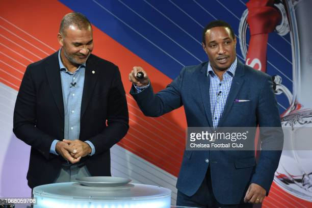 Ruud Gullit and Paul Ince at the Emirates FA Cup Third Round Draw at Stamford Bridge on December 3 2018 in London England