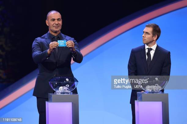 Ruud Gullit and Philipp Lahm attend the UEFA Euro 2020 Final Draw Ceremony on November 30 2019 in Bucharest Romania