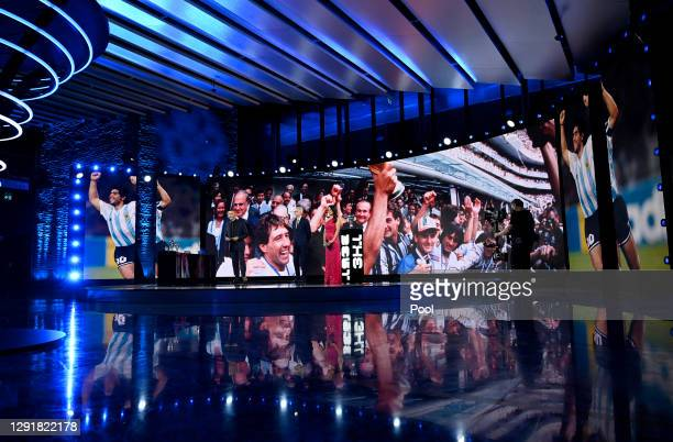 Ruud Gullit, Arsene Wenger and Reshmin Chowdhury pay tribute to Diego Maradona during the The Best FIFA Football Awards on December 17, 2020 in...