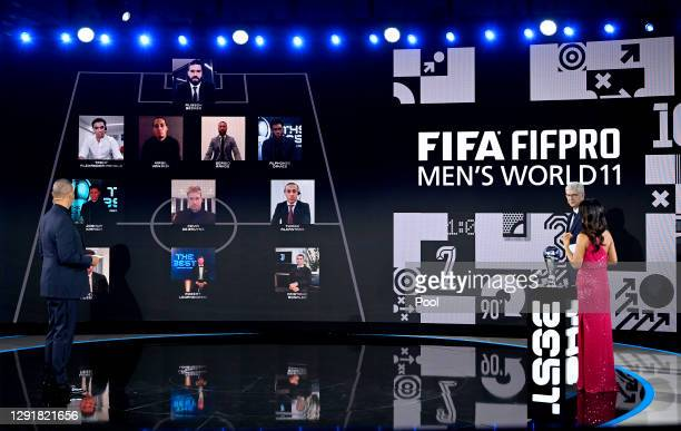 Ruud Gullit, Arsene Wenger and Reshmin Chowdhury present the FIFA FIFAPRO Men's World 11 during the The Best FIFA Football Awards on December 17,...